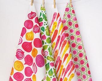 Set of 4 eco-friendly tea towels • watercolor veggie designs
