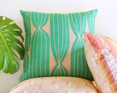 Modern Cactus Stripe throw pillow cover, green and blush pink • original cactus-inspired textile • mid-century modern