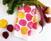 Spring beets tea towel • watercolor chioggia, ruby, and golden beets