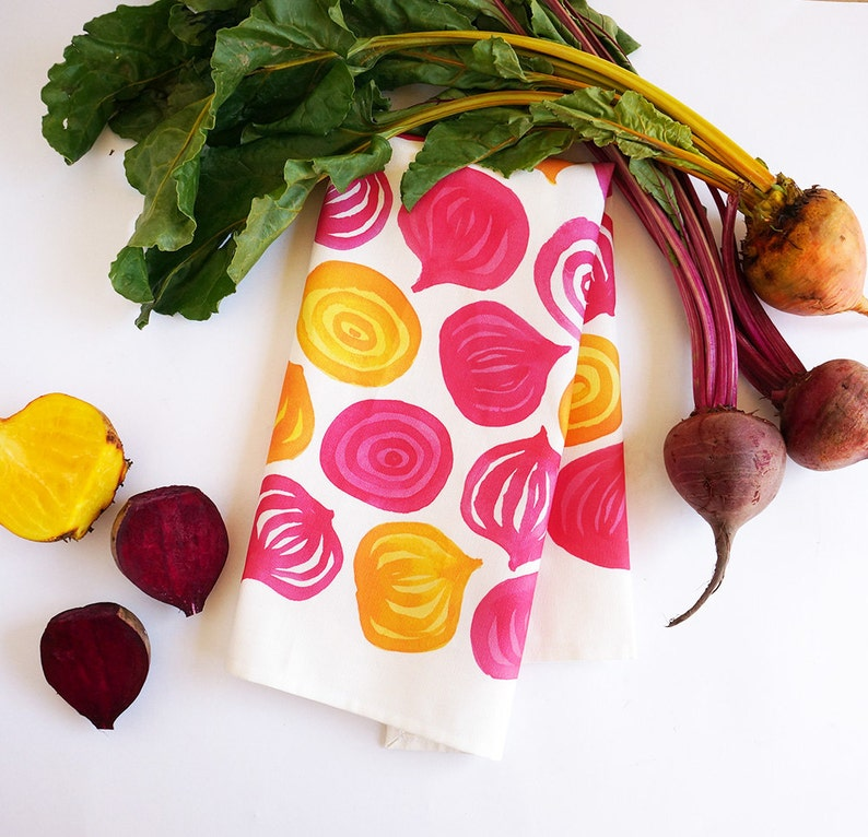 Spring beets tea towel  watercolor chioggia ruby and golden image 0