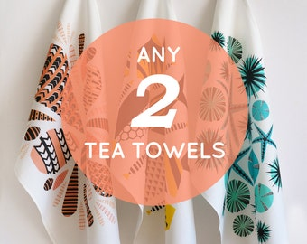Set of 2 eco-friendly tea towels  •  pick any 2  •  colorful, nature inspired kitchen towels