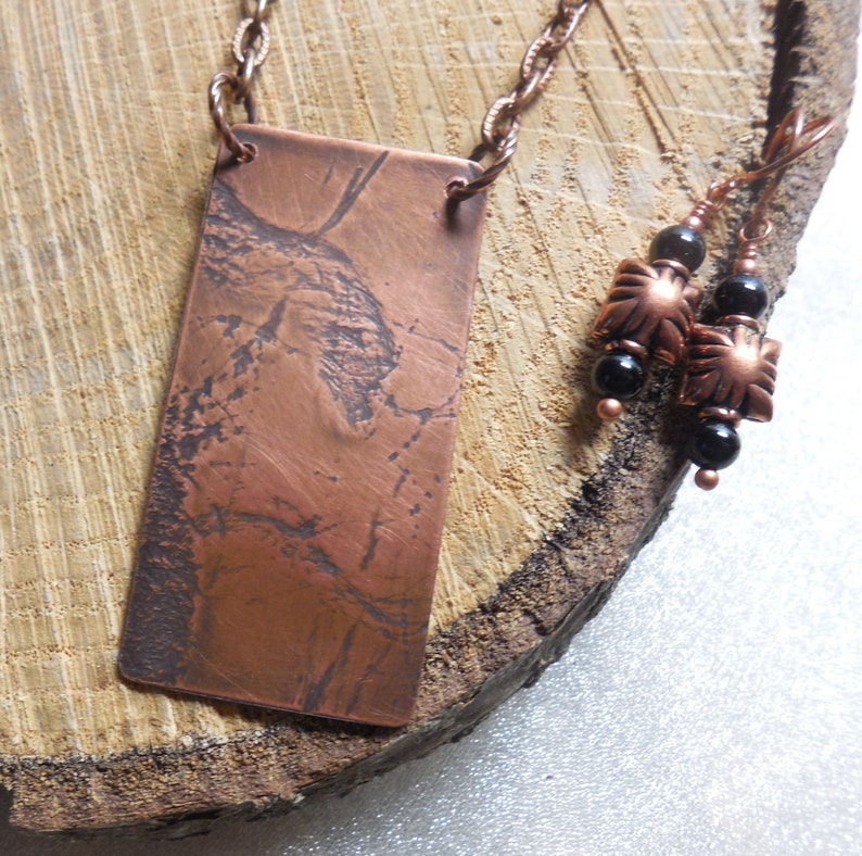 Abstract Dragon Copper Onyx Gift For Wife Daughter Sister Mom Cousin Bae Best Friend Artisan Metalsmith Organic Natural Hemp Rope Texture