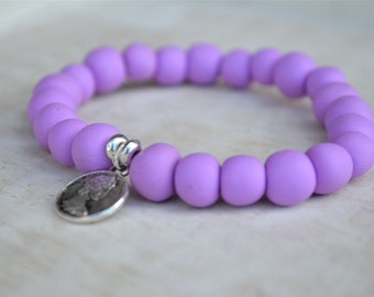 Lucky Penny - Polymer Clay Bracelet in Lilac