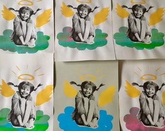 Zeefdruk/Silkscreenprint Pippi Langkous/ Pippi Longstocking