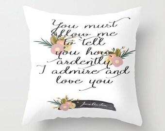 Jane Austen Pride and Prejudice Floral Print Bookish Pillow