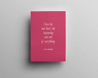 F. Scott Fitzgerald Literary Print - Pantone Bookish Quote Digital Print