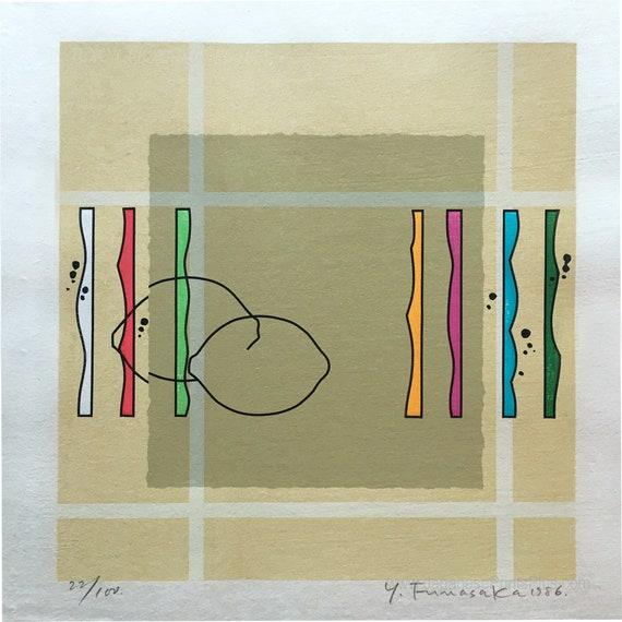 Geometric. Woodcut LEMONS /& STRIPES Lines Modern Abstract Art Sosaku Hanga by Yoshisuke Funasaka Modern Japanese Woodblock Print