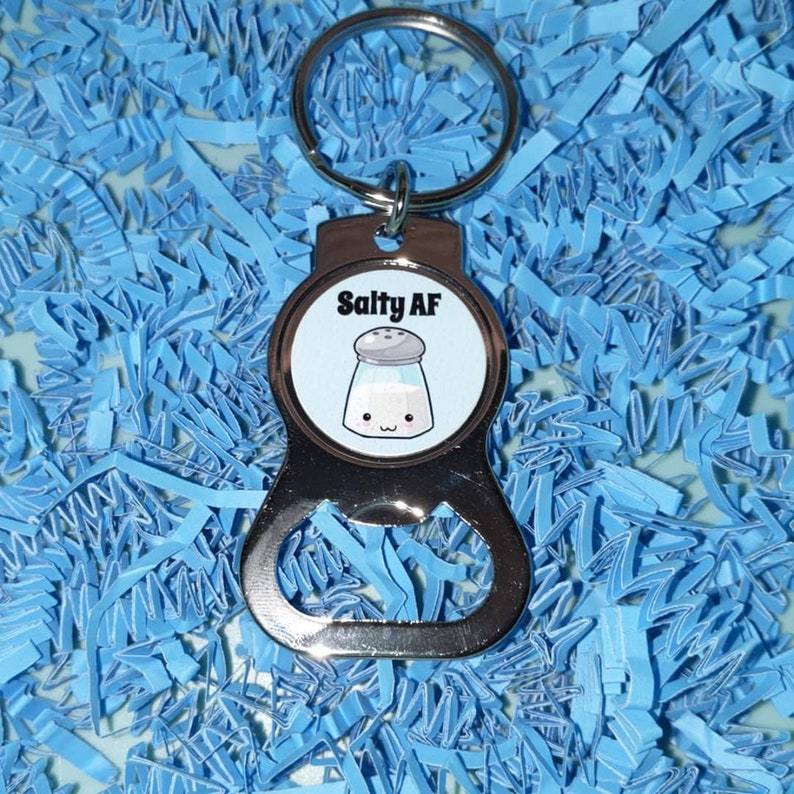 Salty AF Stainless Steel Bottle Opener Keychain