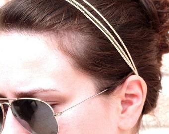 Headband Rose Poudre 3 Tresses Chaine Lianes Coiffure Etsy
