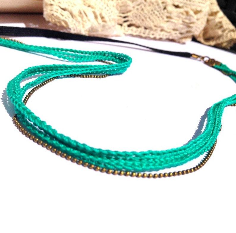 Green Emerald 3 braids  wedding hair vine headband / ceremony image 0