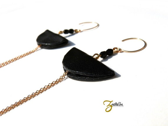 "Earrings 14K Gold black leather - graphic Chic Glamour Rock - model CANCUN ""Mexico Collection"""