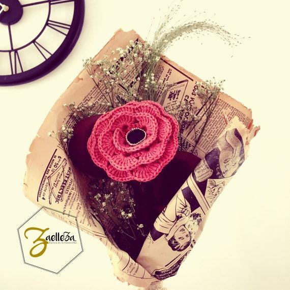 """Bouquet de Fleur Crochet / Cuir Dentelle Journal Papier / Pièce Unique ref01 - Coll.""""Mon Coeur Mon Amour"""""""
