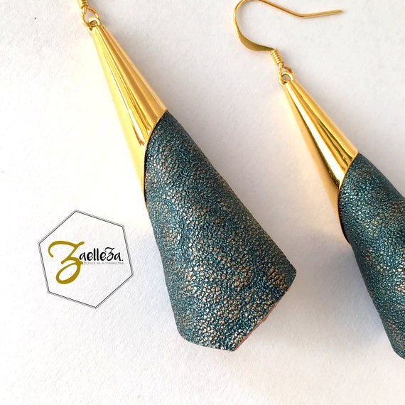 "Iridescent blue leather gold cone earrings / Golden Leverbacks or gold 14 K - model CORNETTI - ""Collection winter 2017/18"" gold Elegant Chic"