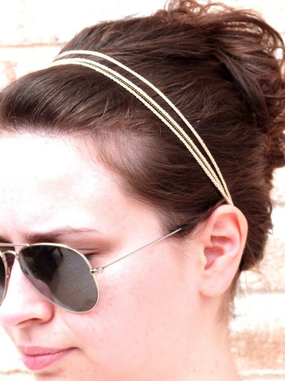 """White headband 3 braids + chain vine - bridal hair accessories / ceremony / every day - """"Gypsy Chic"""" Collection"""