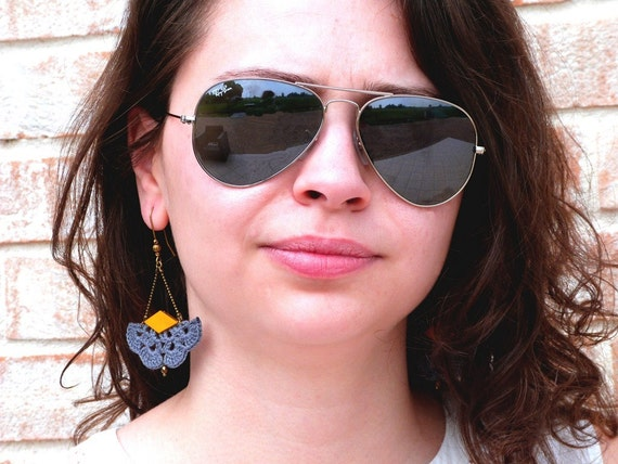 """Earrings grey / yellow leather AEMULA - fan leather hook - jewelry Boho hippie wedding /Quotidien - """"Gypsy Chic"""" Collection"""