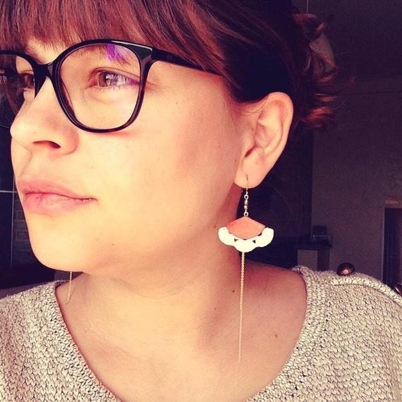 "White orange coral earrings - leather hook 14 k - graphic Chic Bohemian - wedding - model MEXICO ""Mexico Collection"