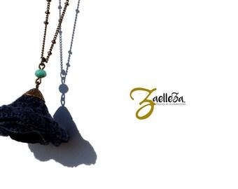 """Sautoir bleu marine turquoise - Collier fleur au crochet CAPUCINE - Bijoux boho / hippie - Cérémonie Mariage - Collection """"Gypsy Chic"""""""
