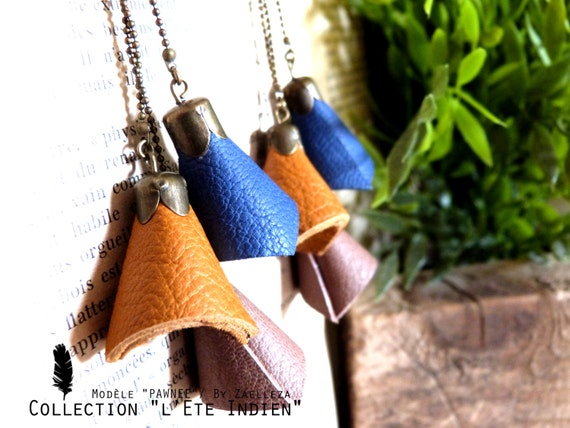 "Earring PAWNEE ""Land of fire"" (sky blue, Taupe, mustard yellow) - 2014/2015 Collection ""Indian summer"""