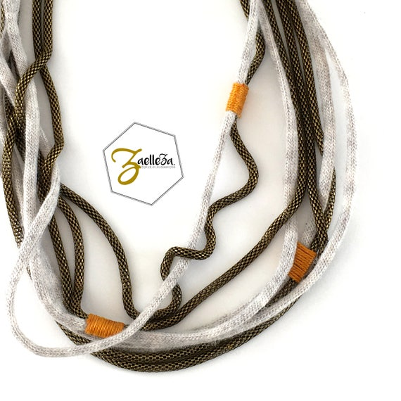 Long necklace to wrap in Heather grey / mustard yellow - model LUCCIOLA - winter Collection 2017/18 - Zaelleza - Cocooning winter Boho Bohemian