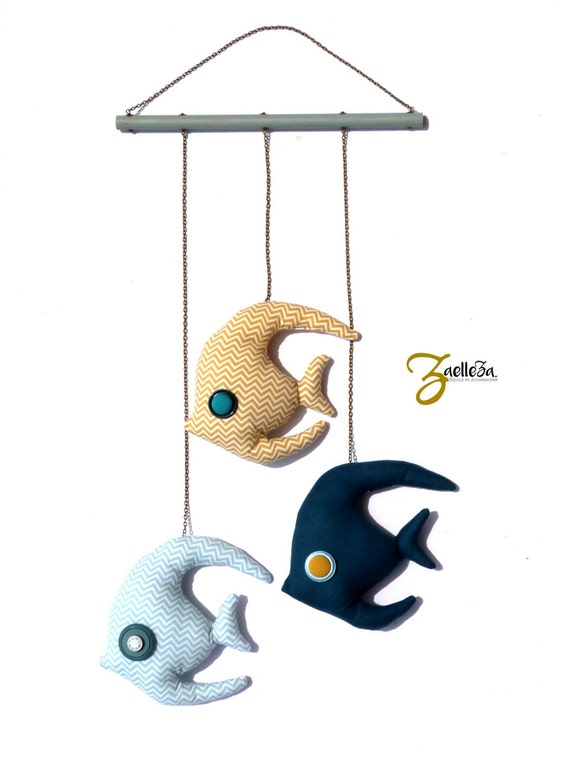 3 fish mobile tropical blue yellow - room, kids wall - unisex baby gift - ornament / decoration / educational baby - 65