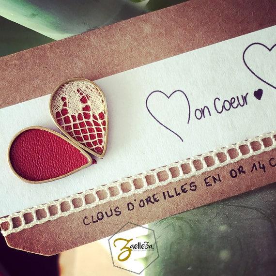 """Boucles d'oreille Clou or 14K , goute cuir rouge / goutte cuir dentelle - modèle PLUIE - Coll. """"Mon Coeur Mon Amour """""""