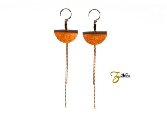 "Earrings mustard yellow leather and gold 14K - Chic graphic Pop Acidule - model CANCUN ""Mexico Collection"""