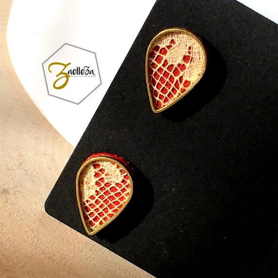 """Boucles d'oreille Clou or 14K /  Cadeau St Valentin / gouttes doré cuir rouge dentelle - modèle PLUIE - Coll.""""Mon Coeur Mon Amour"""""""