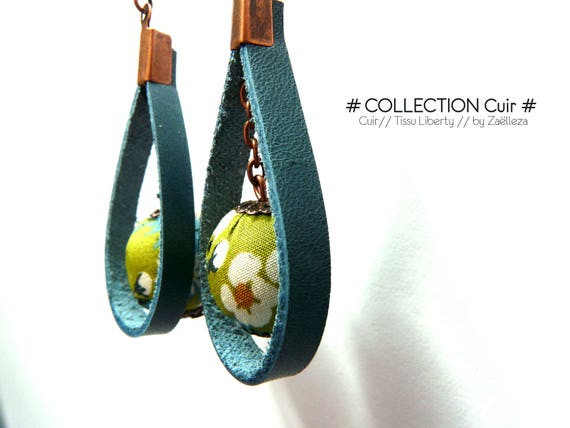 "Earrings ""blue leather / bead in green cloth Liberty ref128 - Nature forest Ocean floral country Bohemian London"""