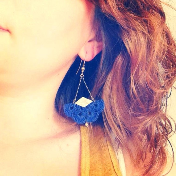 """Navy Blue earrings with hook and gold leather """"AEMULA"""" - Boho jewelry, wedding / everyday - """"Gypsy Chic"""" Collection"""