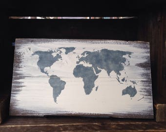 World map -  reclaimed wood sign