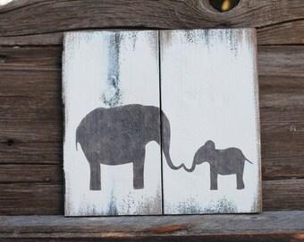Elephant painting on reclaimed wood