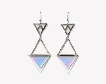 Holographic earrings with geometric triangle | BERMUDA hologram iridescent earrings | Minimal triangles earrings | Futuristic jewellery