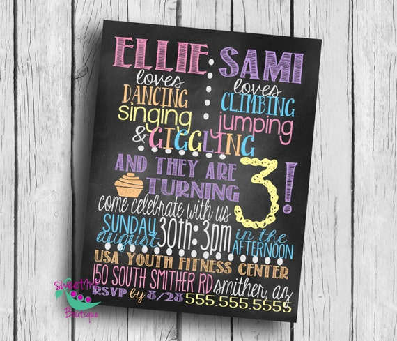 customized twin birthday party invitation 3rd birthday etsy