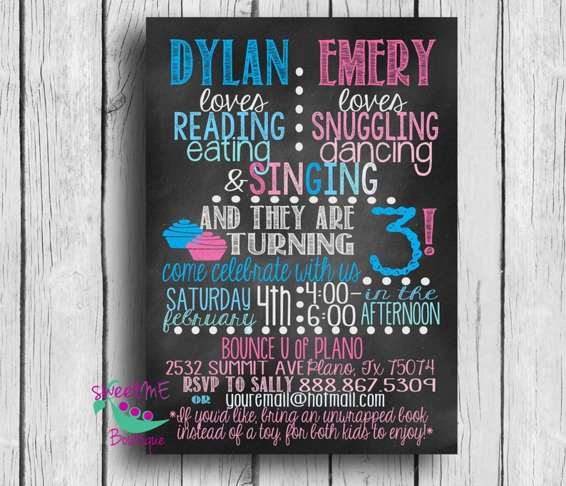 Customized Twin Birthday Party Invitation 3rd