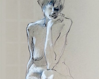 """Figure Drawing Female Nude Gesture Sketch by Lucy Morar / Fine Art Print 4"""" x 10"""" / Charcoal Drawing / Thoughtful"""