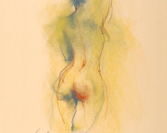 """Figure Drawing Female Nude by Lucy Morar / Fine Art Print 8""""x10"""" / Lady's Maid"""