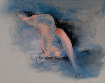 """Figure Drawing Female Nude by Lucy Morar / Fine Art Print 10"""" x 8"""" / Another Drama"""