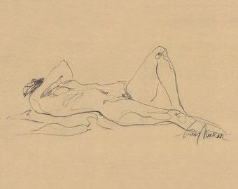 "Figure Drawing Female Nude Gesture Sketch by Lucy Morar / Fine Art Print 10""x8"" Charcoal / Beige / Reclining"