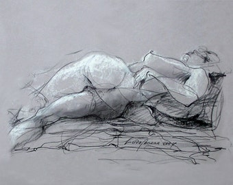 """Figure Drawing Female Nude by Lucy Morar / Fine Art Print 10"""" x 8"""" / Velocity of Dreams"""