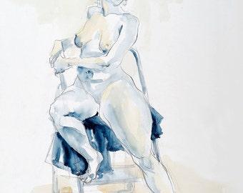 "Figure Female Nude / Watercolor by Lucy Morar / Fine Art Print 8"" x 10"" / Rosita"