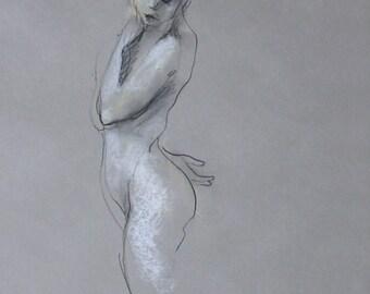 "Figure Drawing Female Nude by Lucy Morar / Fine Art Print 8"" x 10"" / Quiet Beauty"