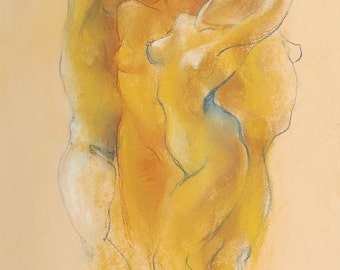 """Figures Drawing Female Nude by Lucy Morar / Fine Art Print 8""""x10"""" / Warmth of the Earth"""