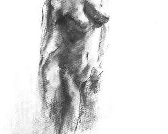"Figure Drawing Female Nude Gesture Sketch by Lucy Morar / Fine Art Print 8"" x 10"" / Charcoal / Black / Nude Gesture Sketch -13"