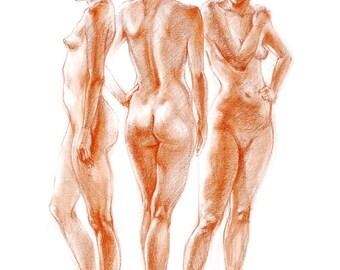 "Figure Drawing Female Nude by Lucy Morar / Fine Art Print 8"" x 10"" / Conte / Figure Study"