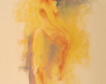 "Figure Drawing Female Nude by Lucy Morar / Fine Art Print 8""x10"" / Honey"