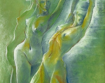 """Figures Drawing Female Nude by Lucy Morar / Fine Art Print 8"""" x 10"""" / Green / Summer Wind"""