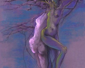 """Colorful Figures Drawing Female Nude by Lucy Morar / Fine Art Print 8"""" x 10"""" / Purlple Blue / Midsummer Night"""