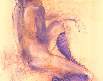 """Figure Drawing Female Nude by Lucy Morar / Fine Art Print 8"""" x 10"""" / Purple / After the Show"""