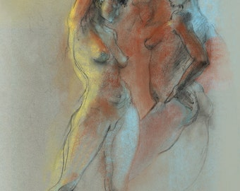 """Colorful Figure Drawing Female Nude by Lucy Morar / Fine Art Print 8"""" x 10"""" / Duality"""