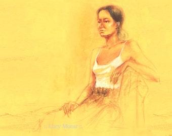 "Female Figure Drawing by Lucy Morar / Fine Art Print 10"" x 8"" / Yellow / Amber Girl"